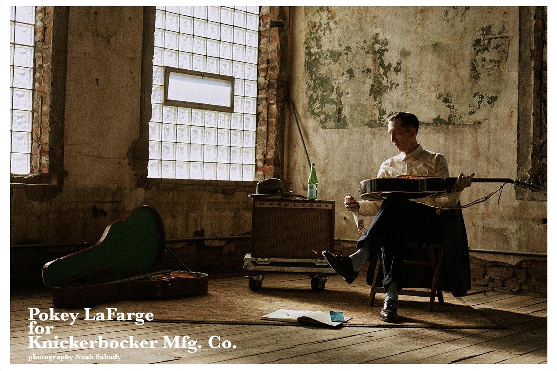 Musician Pokey LaFarge photographed by Noah Sahady for his clothing collaboration with Knickerbocker Mfg. Co. Ponyboy magazine NY.