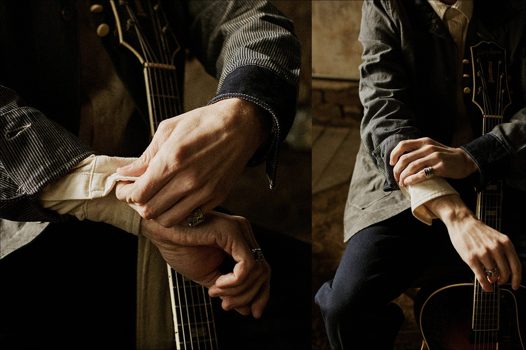 Detail shots of Pokey LaFarge clothing for Knickerbocker Mfg Co. Photographs by Noah Sahady. Ponyboy magazine New York.