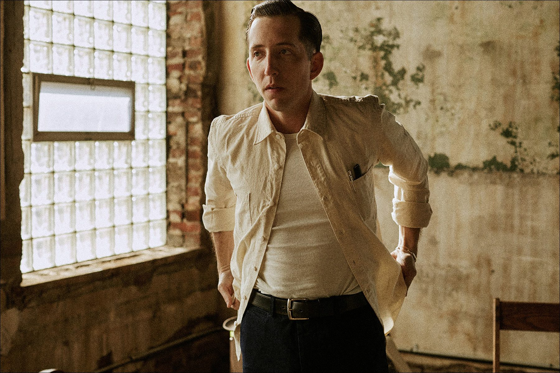 Musician Pokey Lafarge's collaboration with clothing label Knickerbocker Mfg. Co. Photographed by Noah Sahady. Ponyboy magazine.