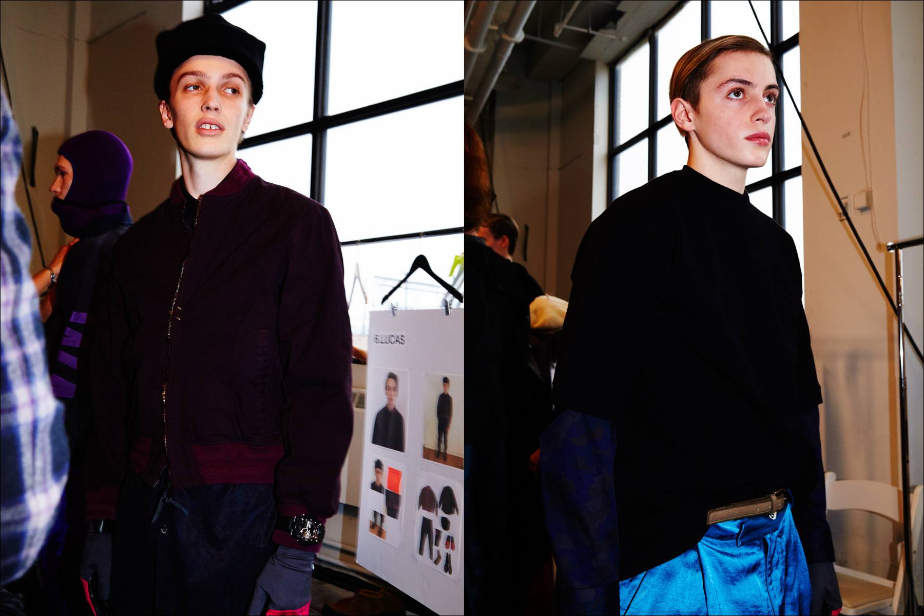 Male models photographed backstage at the Robert Geller Autumn/Winter 2017 menswear shot in New York City. Photographed for Ponyboy magazine by Alexander Thompson NY.