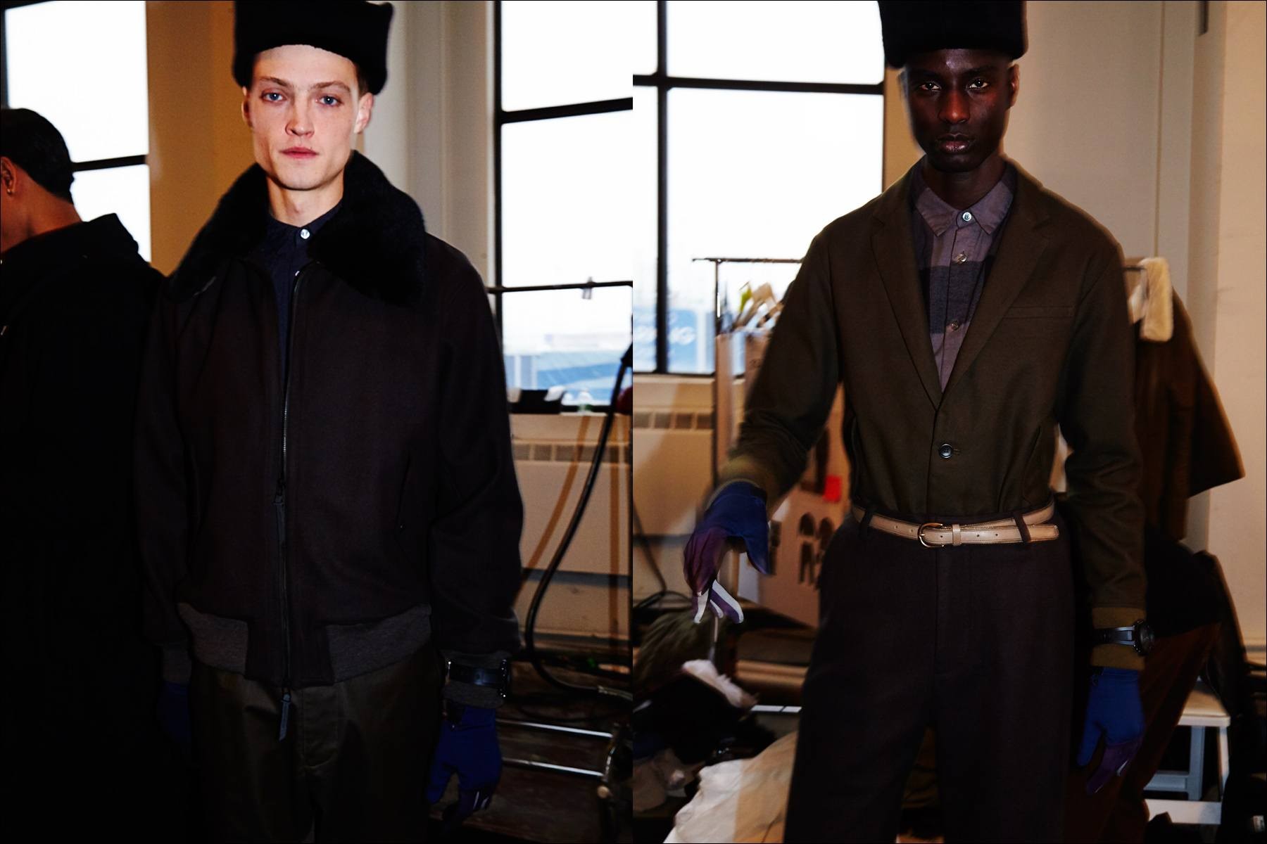 Models Dane Bell & Aly N'Diaye photographed backstage at Robert Geller A/W17 menswear show. Photography by Alexander Thompson for Ponyboy magazine New York.