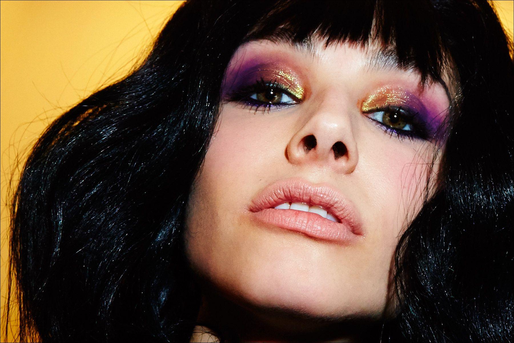 Model Alla Goncharova wearing MAC makeup, keyed by Romero Jennings, backstage at the Georgine Fall/Winter 2017 show. Photography by Alexander Thompson for Ponyboy magazine.