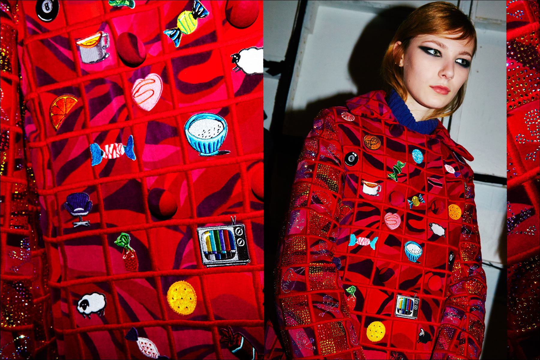 A red embellished women's overcoat backstage at the Libertine F/W17 collection. Photographed by Alexander Thompson for Ponyboy magazine NY.