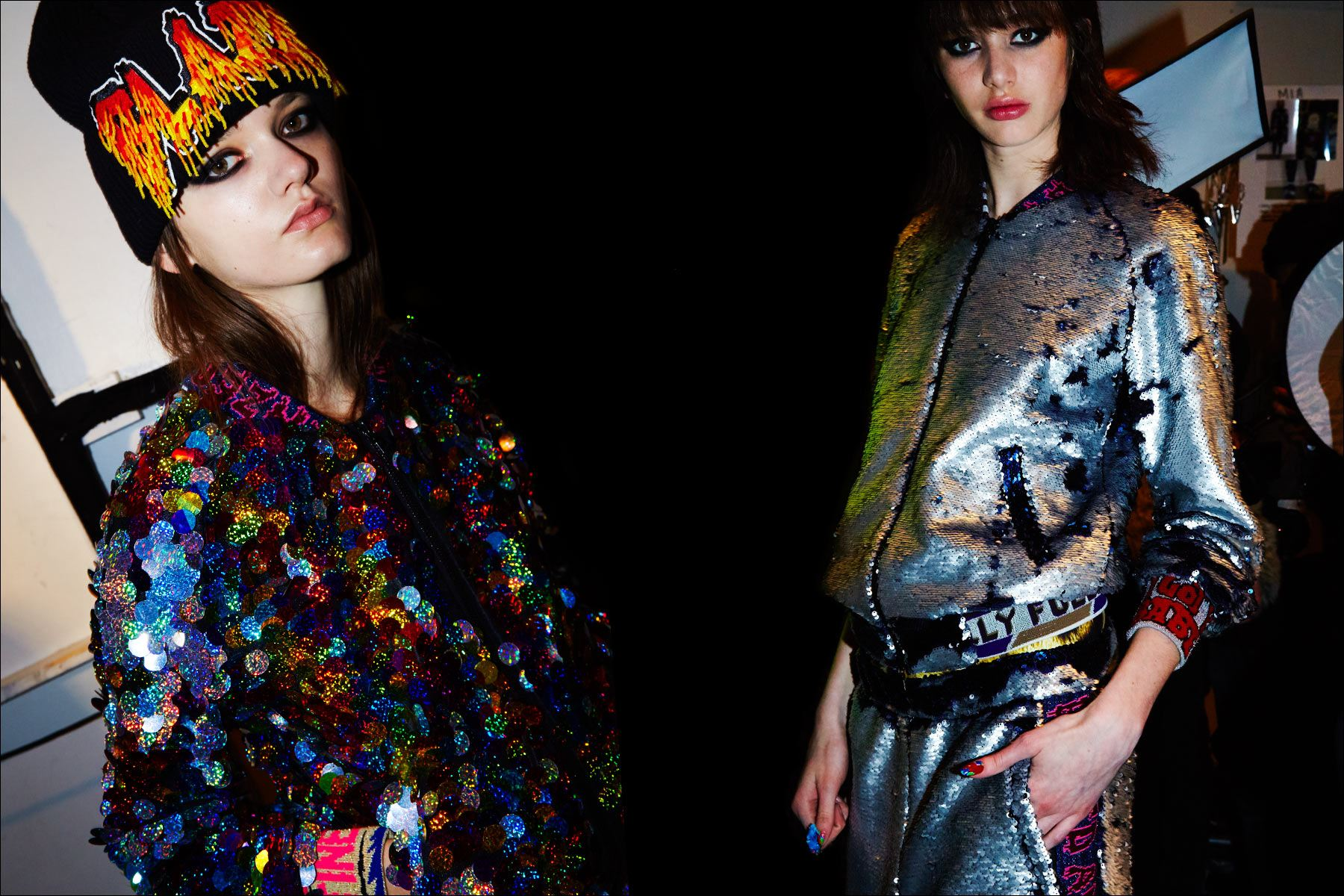 Models Alina Honcharuk & Karime Bribiesca photographed in sequins, backstage at Libertine F/W17. Photographed by Alexander Thompson for Ponyboy magazine NY.