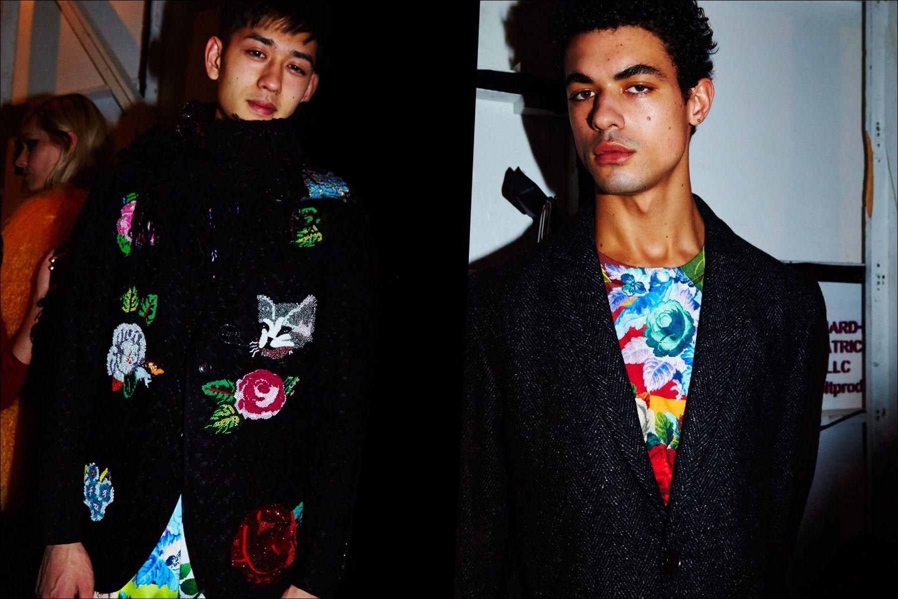 Male models Keisuke Asano & Malik Alain snapped backstage at Libertine Fall/Winter 2017 collection. Photography by Alexander Thompson for Ponyboy magazine New York.