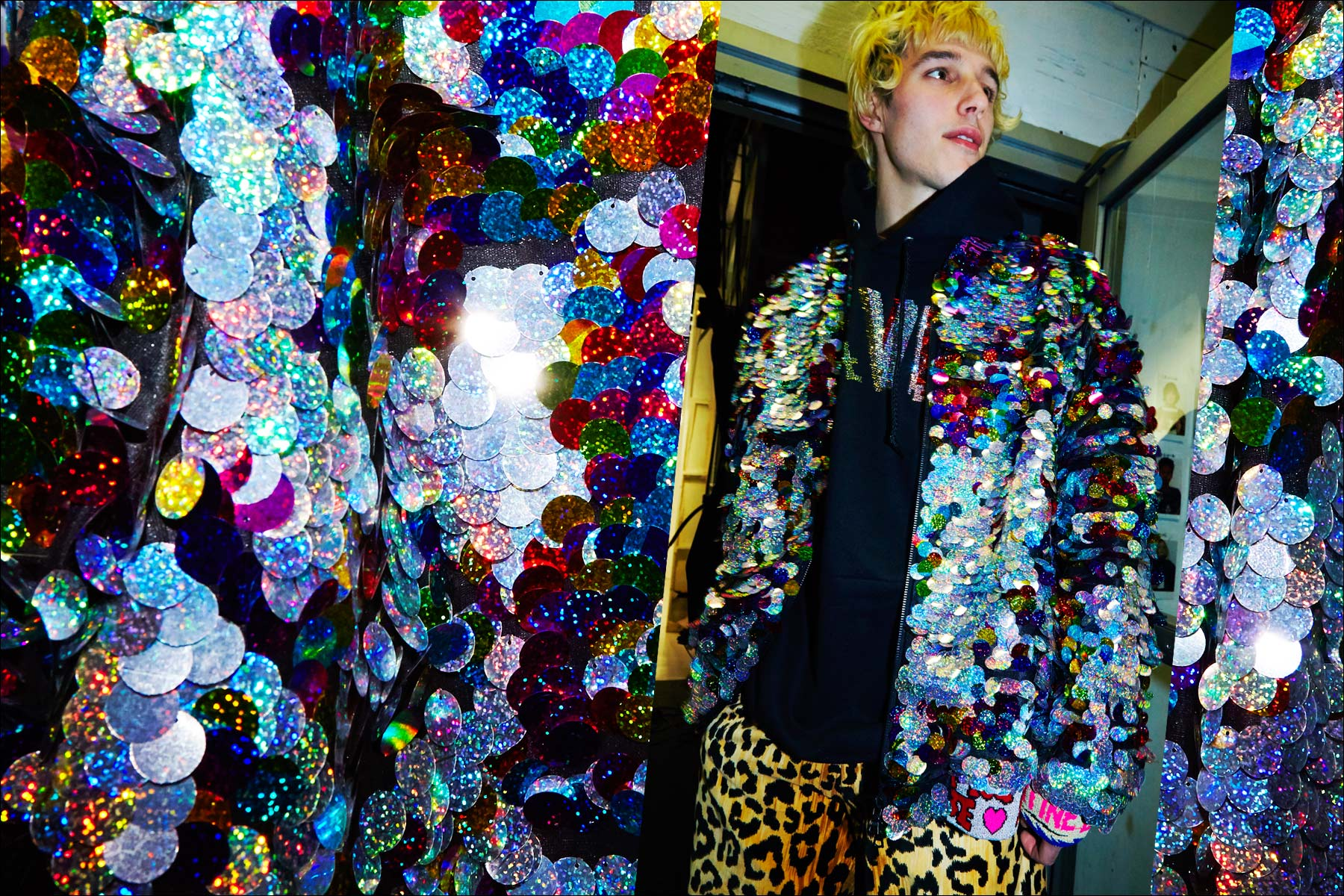 Male model Nick Hadad photographed backstage at Libertine F/W17 in holographic paillettes. Photography by Alexander Thompson for Ponyboy magazine NY.