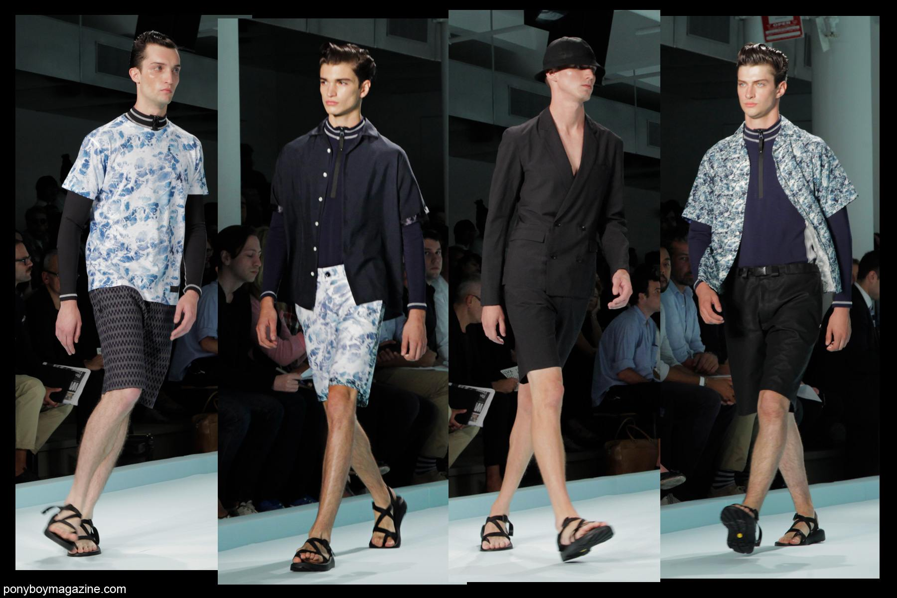 Male models walk for The Patrik Ervell Collection SS 2014, photographed for Ponyboy Magazine by Alexander Thompson.