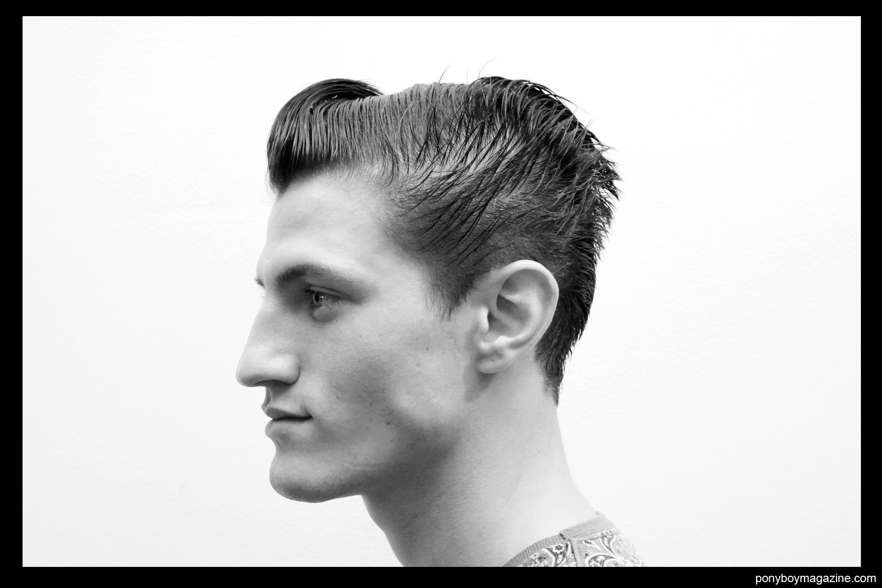 Profile of male model backstage at Patrik Ervell SS 2014, for Ponyboy Magazine, photographed by Alexander Thompson.