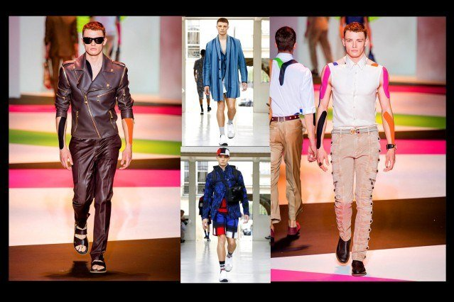 Male model Tyler Rix walks for House of Versace and Issey Miyake. Photo collage for Ponyboy Magazine.