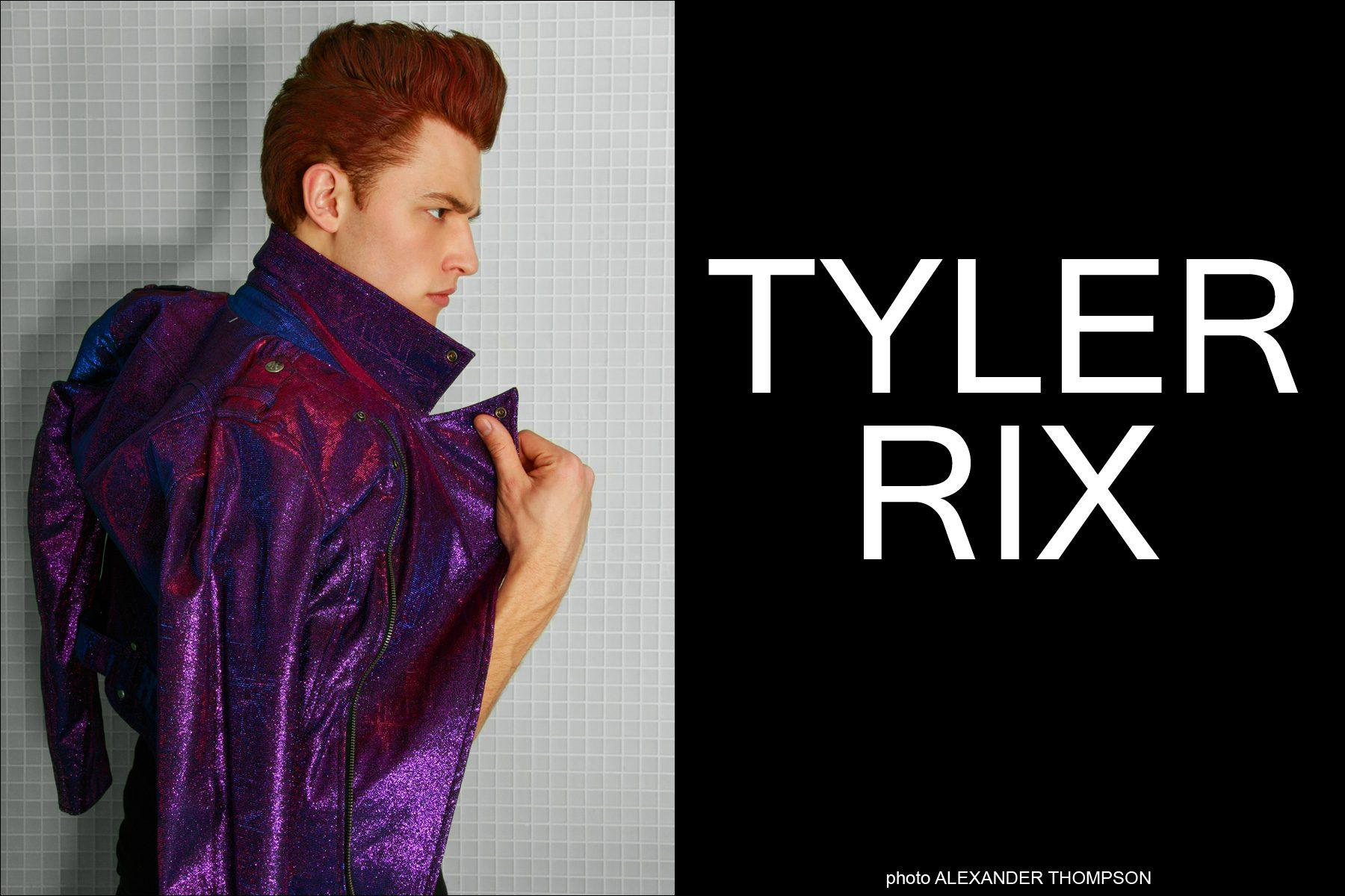 Tyler Rix wearing Tripp NYC, photographed for Ponyboy Magazine by Alexander Thompson, wearing Tripp NYC.