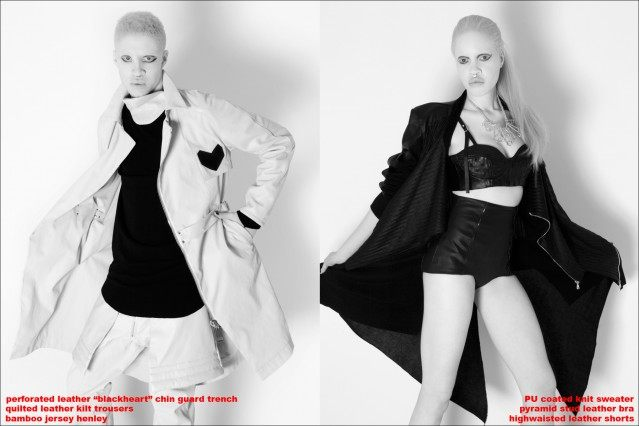 Albino models Shaun Ross and Diandra Forrest, wearing the Unisex Collection of Ashton Michael Autumn Winter 2013. Photographed by Alexander Thompson.