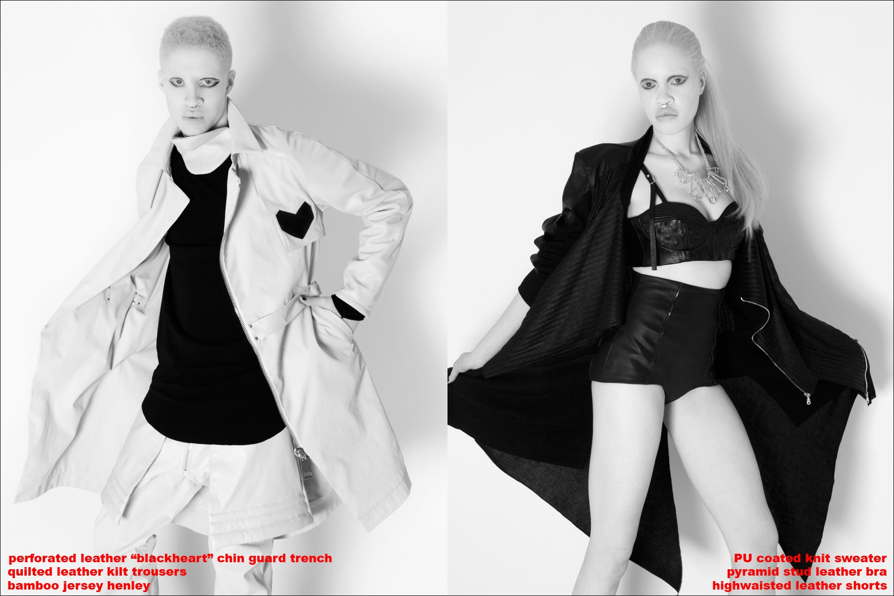 Albino models Shaun Ross and Diandra Forrest in Ashton Michael AW 2013, photographed by Alexander Thompson for Ponyboy Magazine.