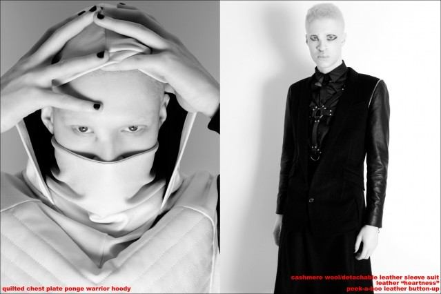 Albino male model Shaun Ross photographed by Alexander Thompson for Ponyboy magazine, featuring The Ashton Michael Autumn/Winter 2013 Collection.
