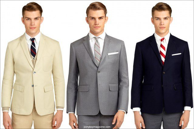 Men's suits by Thom Browne for Black Fleece/Brooks Brothers. Ponyboy Magazine online vintage inspired men's and women's fashion.