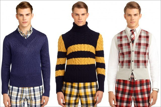 Men's 50's inspired sweaters by Thom Brown for Black Fleece/Brooks Brothers, Ponyboy Magazine, online men's and women's vintage inspired fashion.