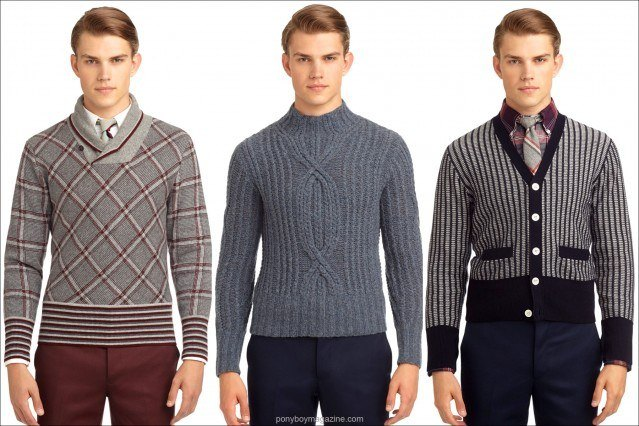 Thom Browne AW 2013 men's sweaters, for Black Fleece/Brooks Brothers. Ponyboy Magazine, vintage inspired men's and women's fashion editorials.