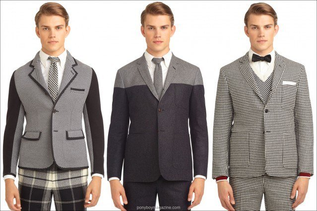 Black Fleece men's wool suit jackets, designed by Thom Browne AW 2103. Ponyboy Magazine, women's and men's vintage inspired fashion.