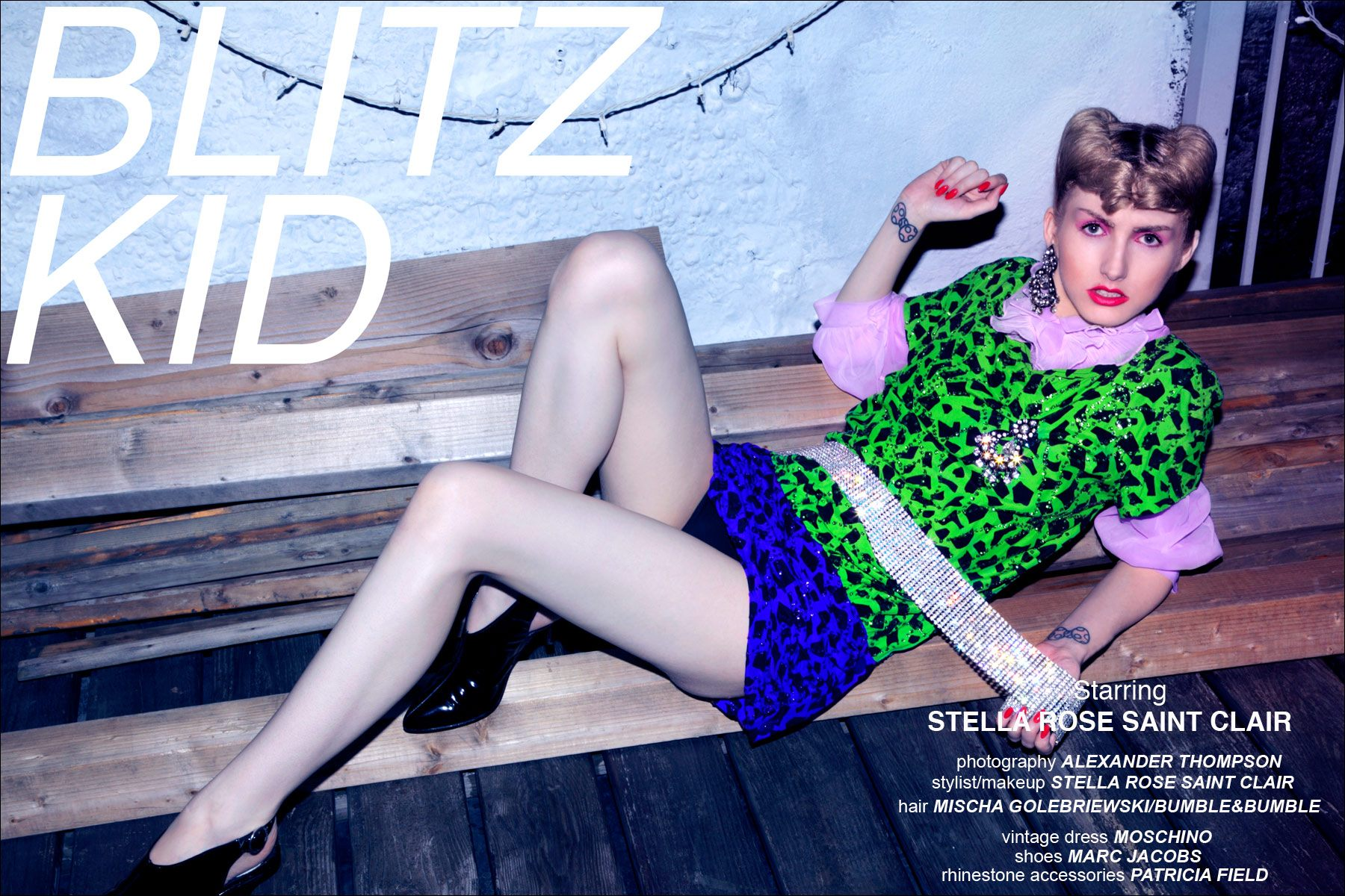 Stella Rose Saint Clair modeling in Blitz Kid editorial for Ponyboy Magazine, photographed by Alexander Thompson.