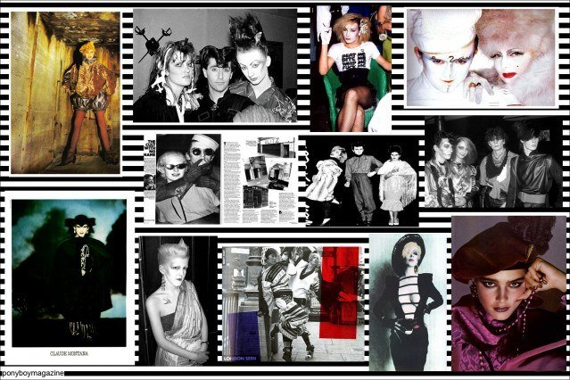 Photo collage of The Blitz Kids for Ponboy Magazine, the online vintage and style magazine. The 1980's club kids were innovative in their extreme makeup and costumes.