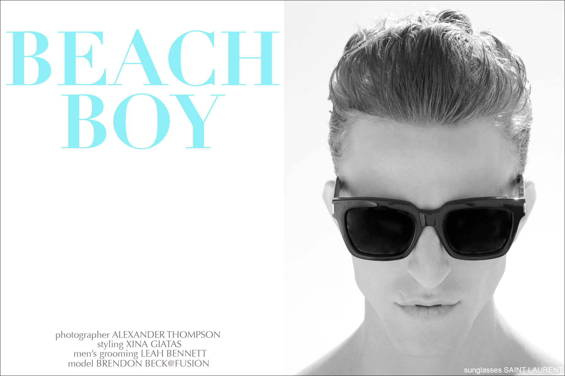Model Brendon Beck wears sunglasses by Saint Laurent for Ponyboy Magazine, photographed by Alexander Thompson.