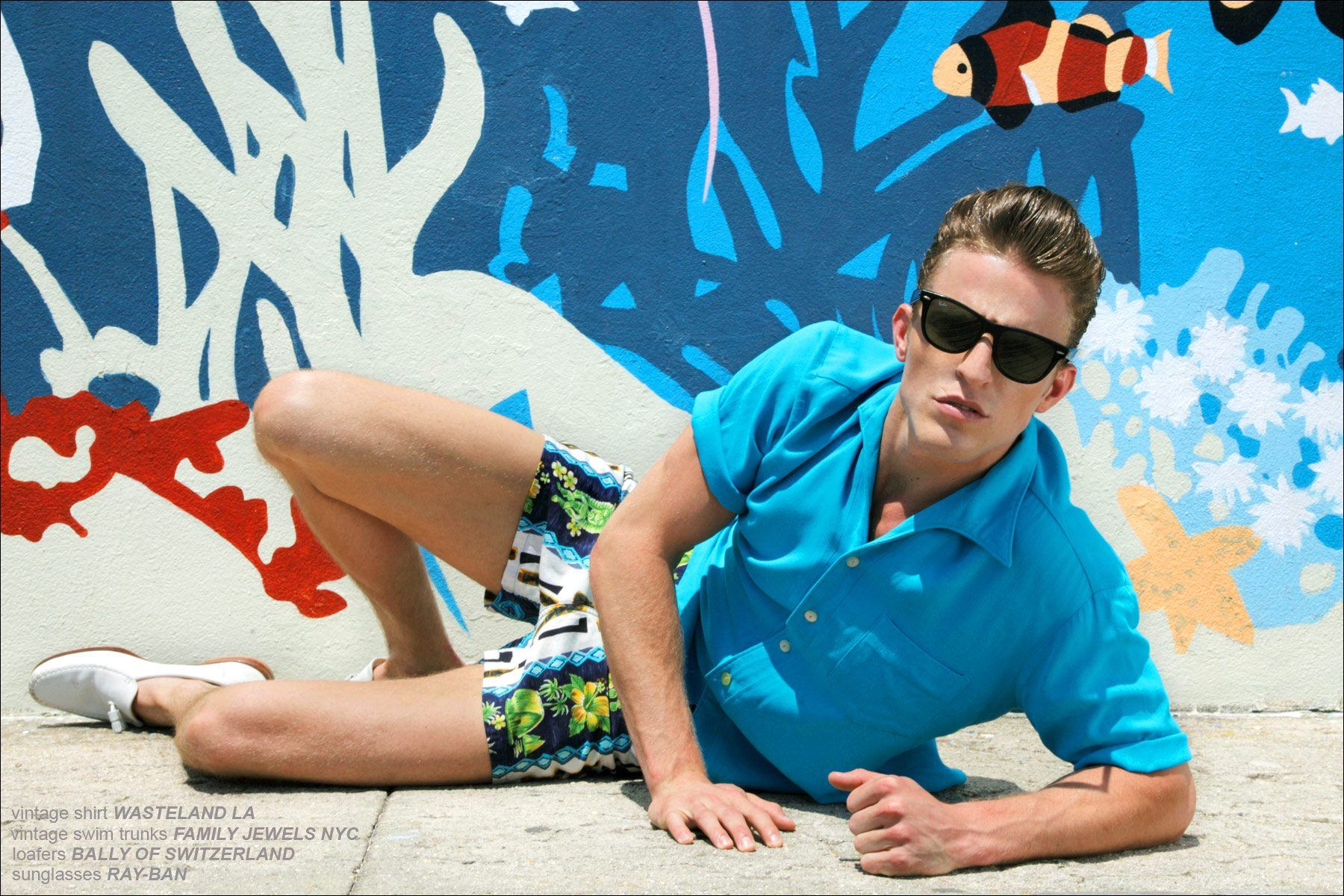 Brendon Beck in Bally of Switzerland and Ray-Bans, photographed by Alexander Thompson for Ponyboy Magazine.