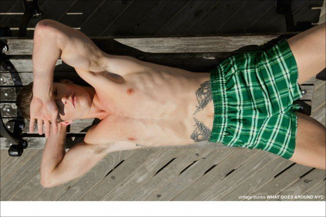 Brendon Beck in vintage Trunks from What Goes Around NYC, photographed by Alexander Thompson for Ponyboy Magazine.