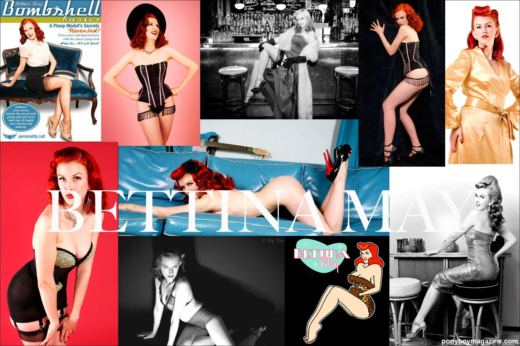 Photo collage of Burlesque Beauty Bettina May for Ponyboy Magazine.