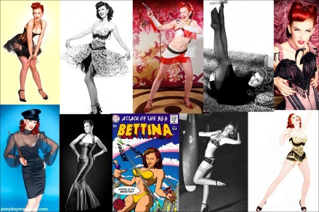 Photo collage of Pin-up beauty Bettina May for Ponyboy Magazine.