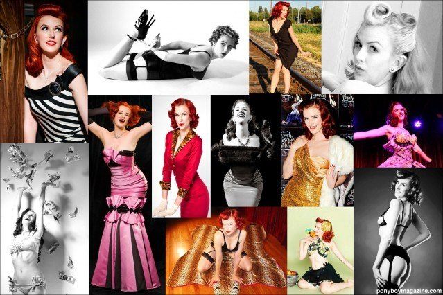 Photo collage of red-headed burlesque beauty Bettina May for Ponyboy Magazine, online vintage fashion magazine.