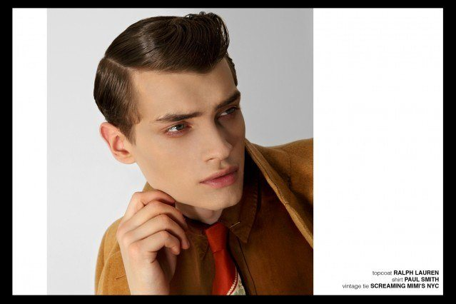 Model Branko in Paul Smith and Ralph Lauren for Ponyboy magazine, featuring men's vintage style, Rockabilly, 50's, men's fashion. Photography by Alexander Thompson.