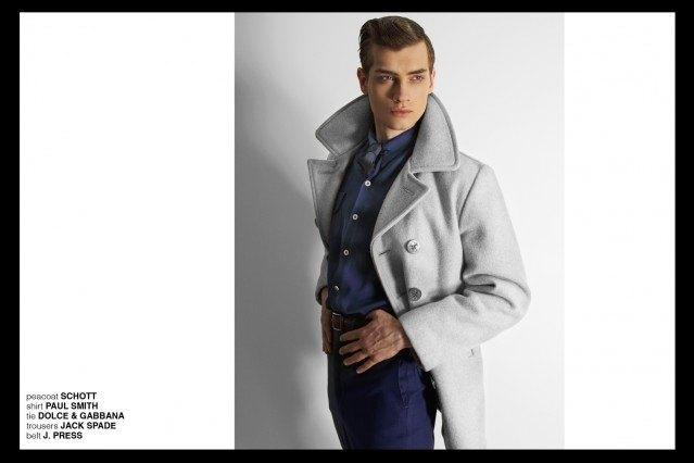 Model Branko in Paul Smith, Dolce & Gabbana, Jack Spade, J. Press, and Schott. for Ponyboy magazine, featuring men's vintage style, Rockabilly, 50's, men's fashion. Photography by Alexander Thompson.