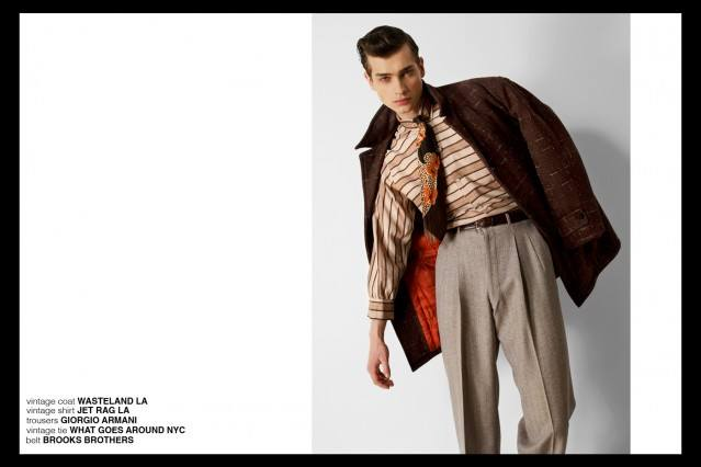 Model Branko in Giorgio Armani, Brooks Brothers for Ponyboy magazine, featuring men's vintage style, Rockabilly, 50's, men's fashion. Photography by Alexander Thompson.
