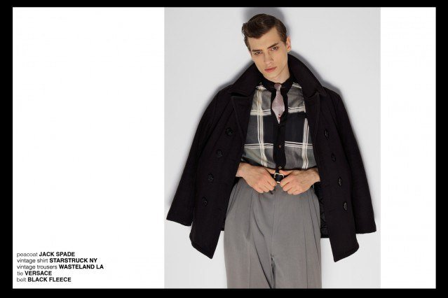 Model Branko in Jack Spade, Versace, Black Fleece for Ponyboy magazine, featuring men's vintage style, Rockabilly, 50's, men's fashion. Photography by Alexander Thompson.
