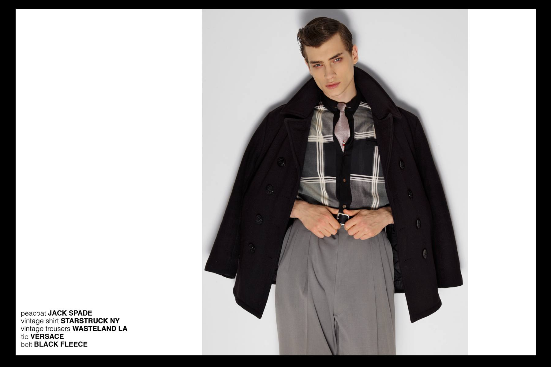 Branko models Jack Spade, Versace and Black Fleece for Ponyboy Magazine, photographed by Alexander Thompson.
