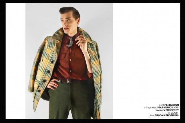 Model Branko in Pendleton, Burberry, Gucci and Brooks Brothers for Ponyboy magazine, featuring men's vintage style, Rockabilly, 50's, men's fashion. Photography by Alexander Thompson.