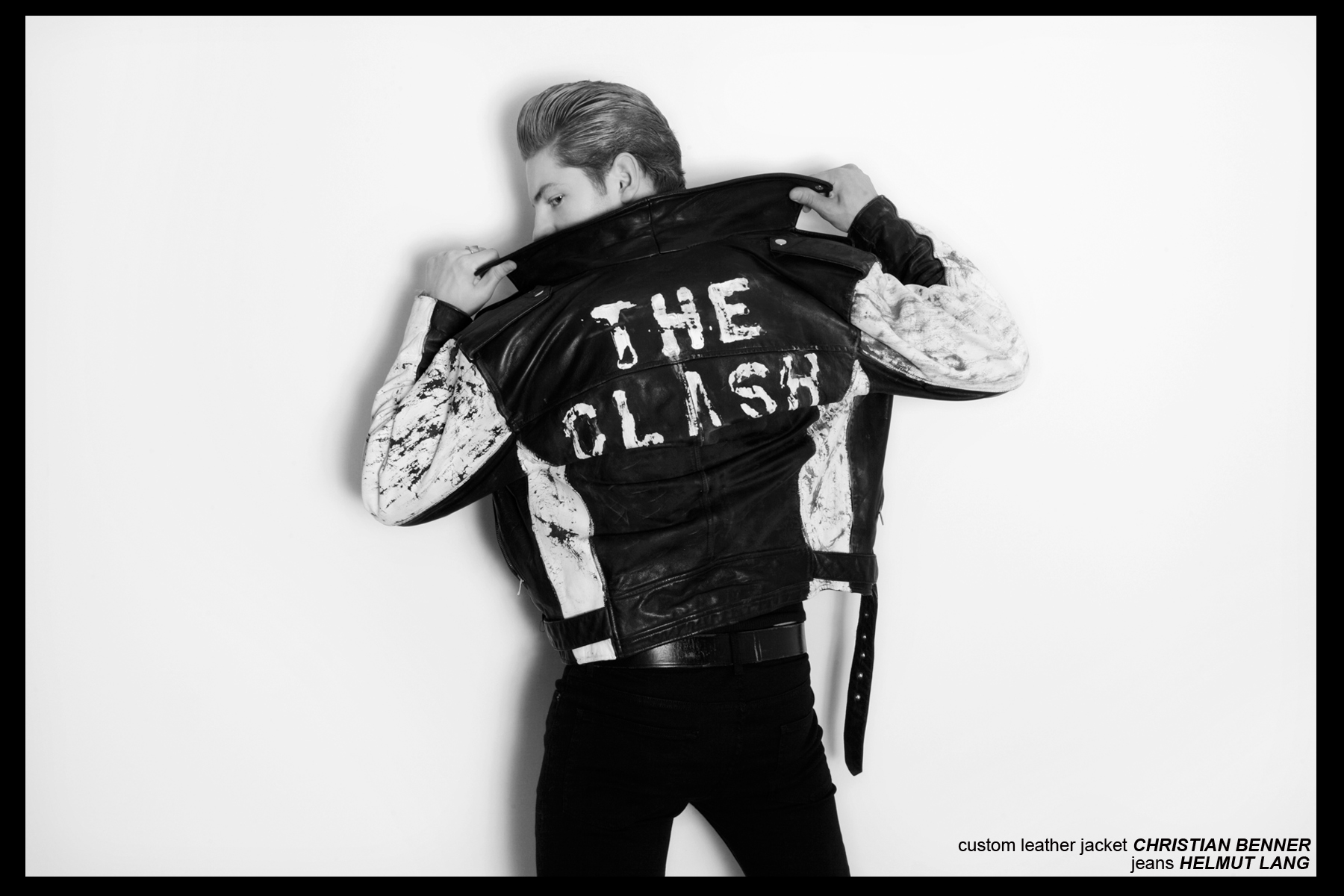 Clash custom leather jacket by Christian Benner for Ponyboy Magazine, photographed by Alexander Thompson. Worn by Soul Artist Management model Clancy Sigalet.