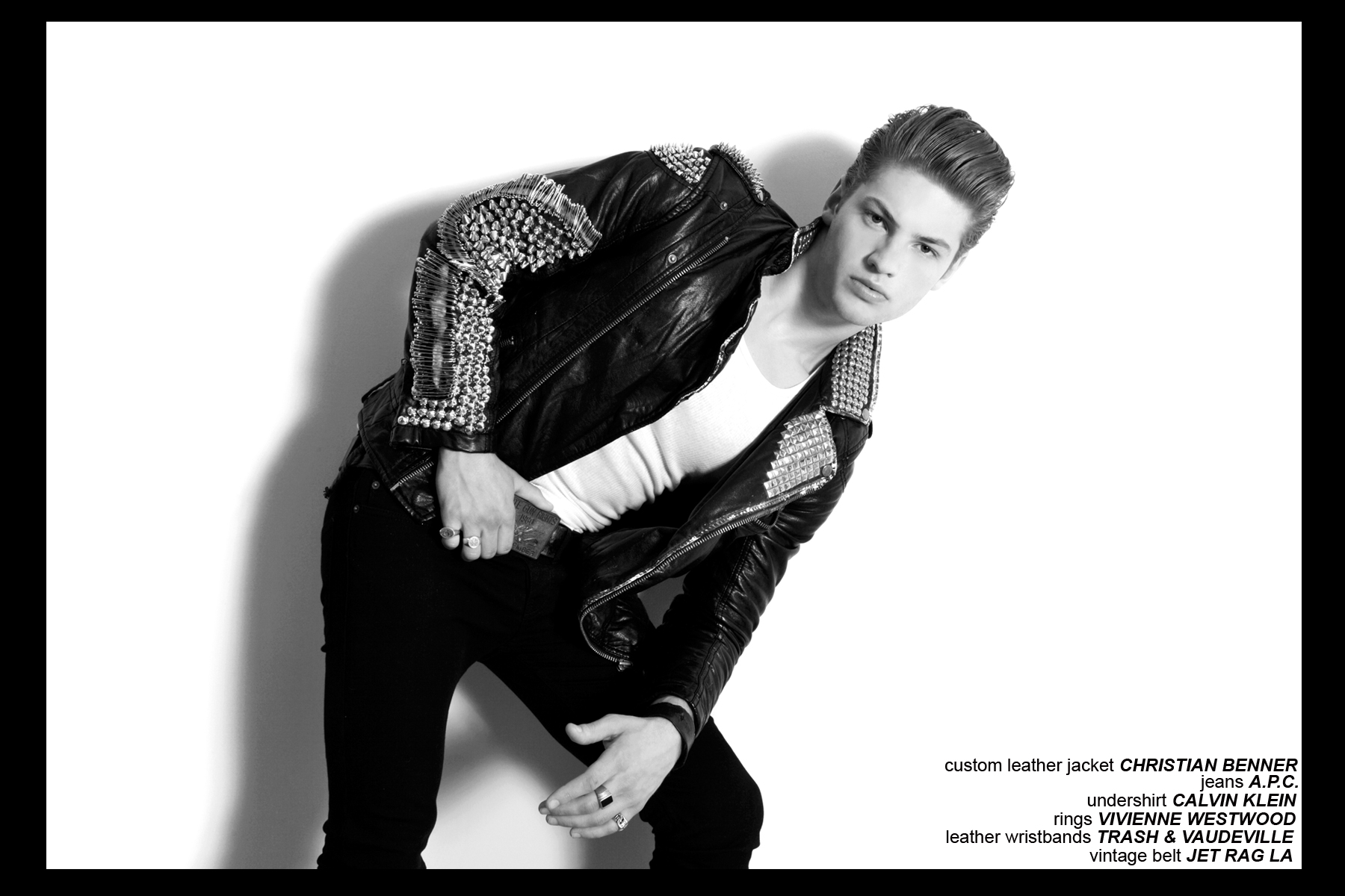 Model Clancy Sigalet from Soul Artist Management, modeling Christian Benner for Ponyboy Magazine.
