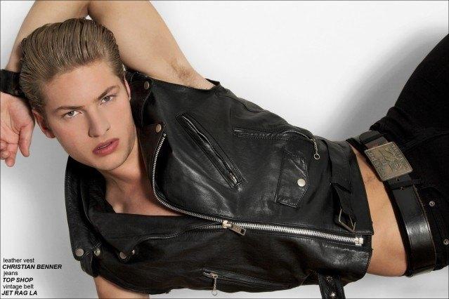 Men's custom leather Christian Benner vest, for Ponyboy Magazine, photographed by Alexander Thompson on model Clancy Sigalet.