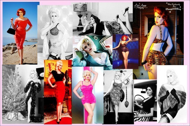 Photo collage of pin-up legend Doris Mayday, for Ponyboy Magazine