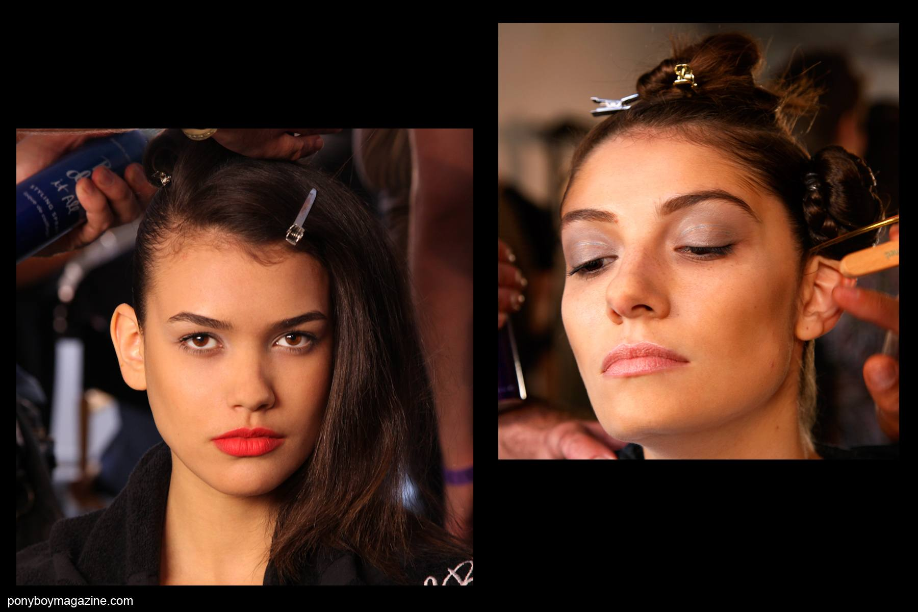 Backstage beauties photographed by Alexander Thompson for Ponyboy Magazine, at Alexandre Herchcovitch SS2014.