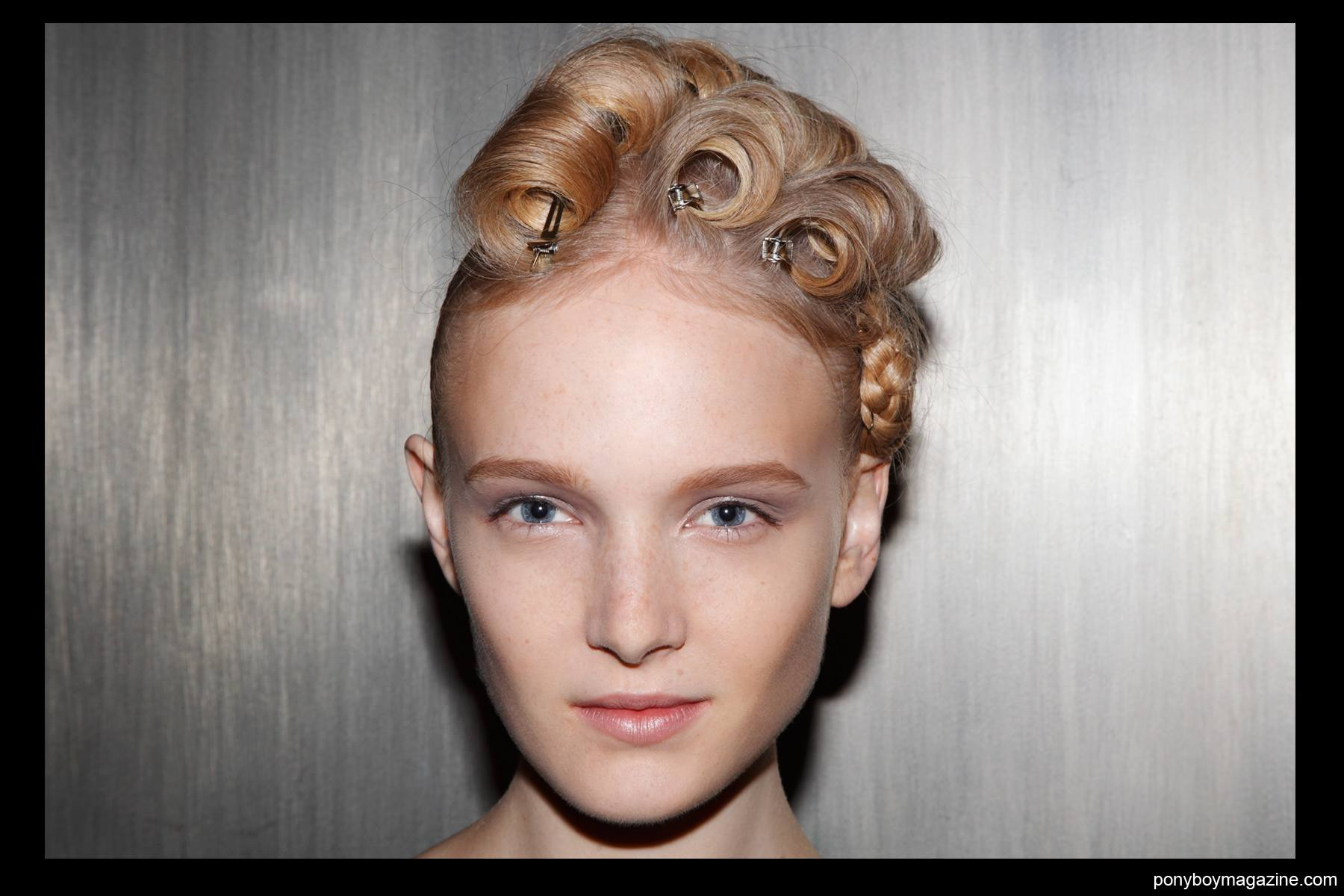 Backstage hair/makeup at Alexandre Herchcovitch SS2014 for Ponyboy Magazine by Alexander Thompson.
