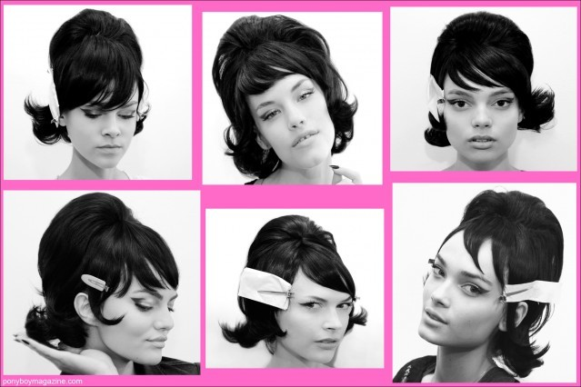 Early 60's flip hairdos on models, backstage at Jeremy Scott's Spring Summer 2014 Collection, photographed for Ponyboy Magazine by Alexander Thompson.