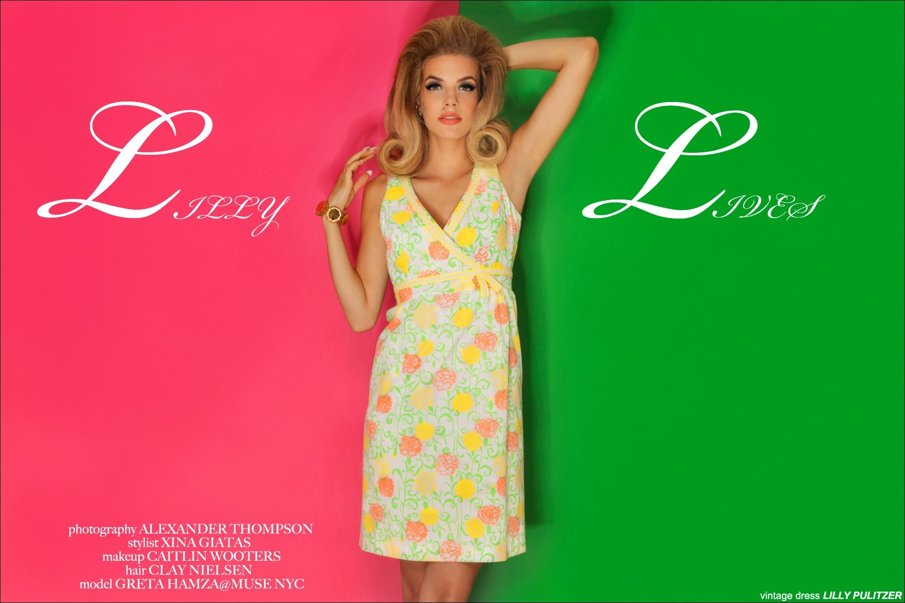 Model Greta Hanza in vintage Lilly Pulitzer, photographed by Alexander Thompson for Ponyboy Magazine.