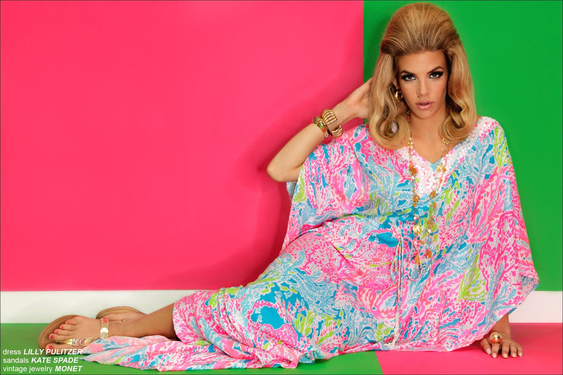 Muse Model Greta Hanza in a Lilly Pulitzer caftan, photographed by Alexander Thompson for Ponyboy Magazine.