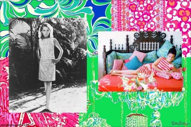 Photos of vibrant Lilly Pulitzer designs for Ponyboy Magazine.