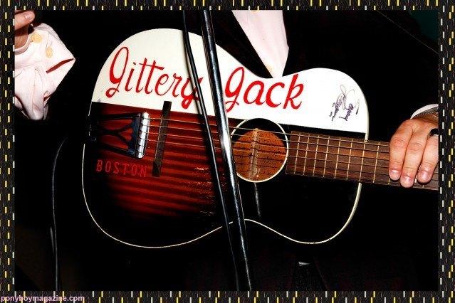 Close up image of Jittery Jack guitar by Alexander Thompson at rockabilly weekender The England Shake-up for Ponyboy Magazine.