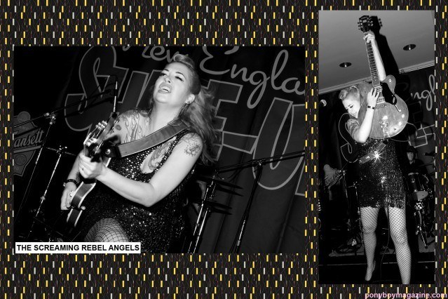 The beautiful Laura Rebel Angel photographed onstage at The New England Shake-up Rockabilly Weekender by Alexander Thompson for Ponyboy Magazine.