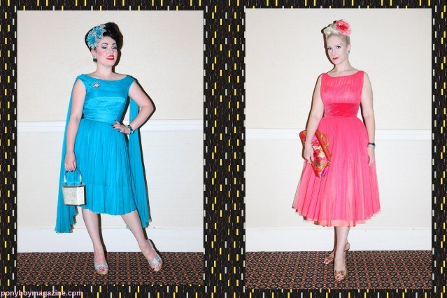 Rockabilly ladies in 50's evening attire, photographed at The New England Shake-up for Ponyboy Magazine by Alexander Thompson.