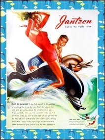 Vintage swimwear ads from the 40's-60's, for Jantzen, Catalina and McGregor swimwear lines, Ponyboy Magazine..