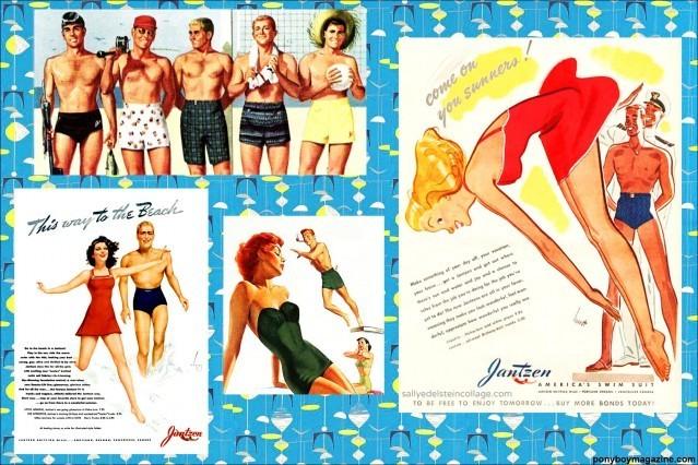 Men's vintage swimwear ads for Ponyboy Magazine.